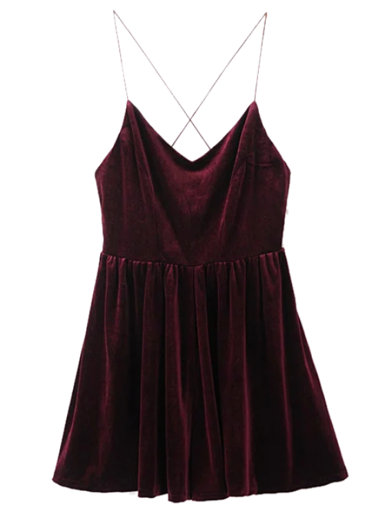 Low Back Slip Velvet Skirted Romper - WINE RED L Mobile