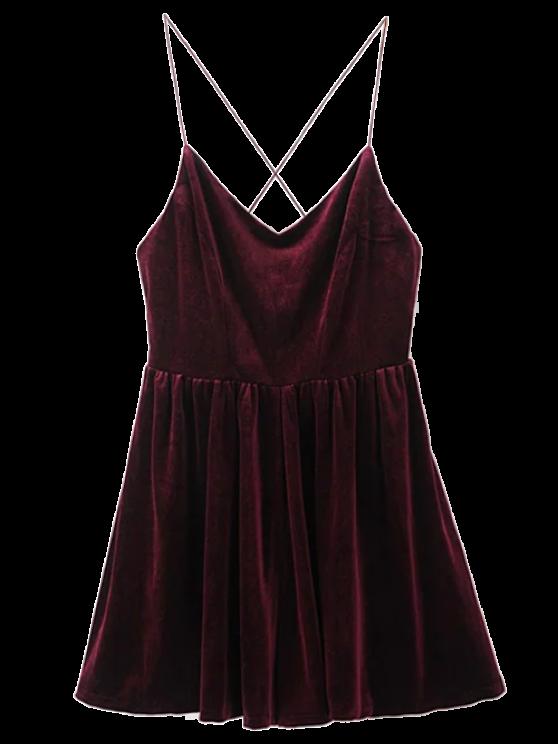 Low Back Slip Velvet Skirted Romper - WINE RED M Mobile