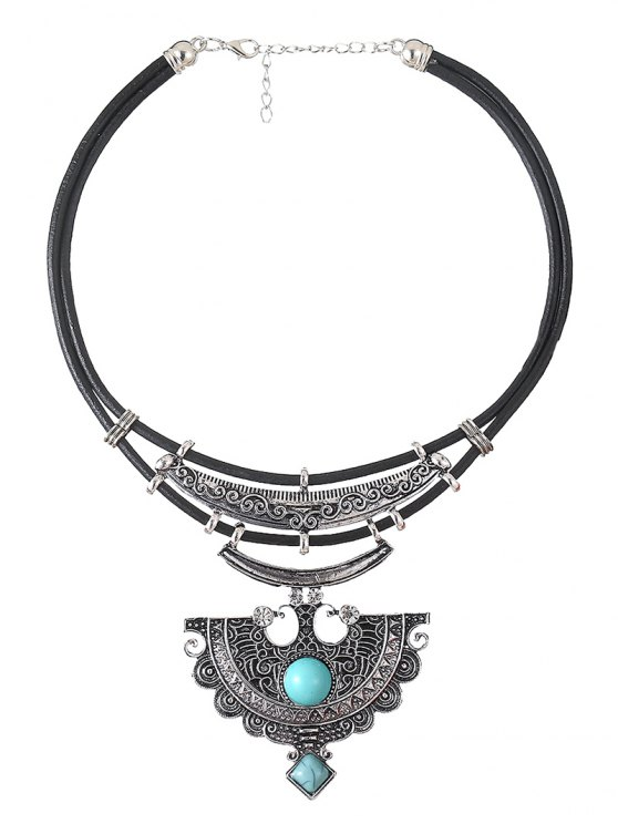 Faux Leather Turquoise Geometric Necklace -   Mobile