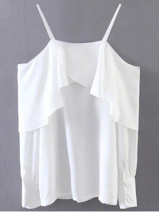 Ruffled Slip Blouse - WHITE ONE SIZE Mobile