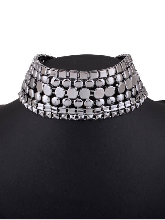 Alloy Polished Wide Necklace - GUN METAL  Mobile