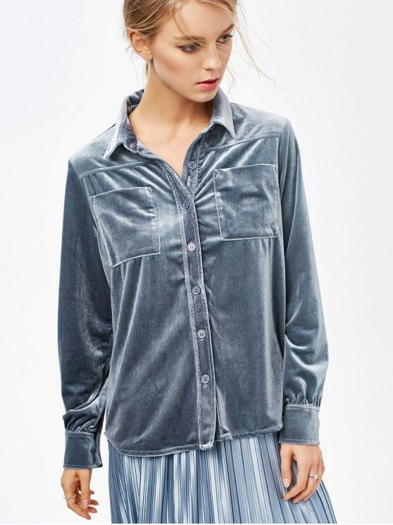 Velvet Shirt With Pockets - BLUE GRAY L Mobile