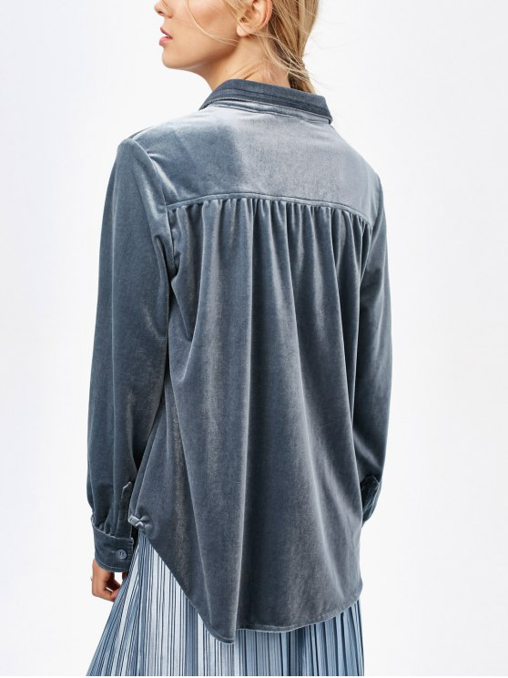 Velvet Shirt With Pockets - BLUE GRAY S Mobile