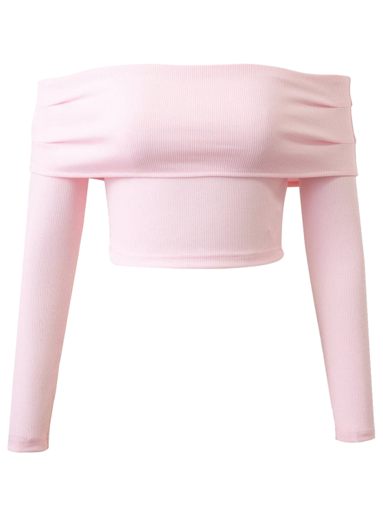 new Long Sleeved Off The Shoulder Top - LIGHT PINK M