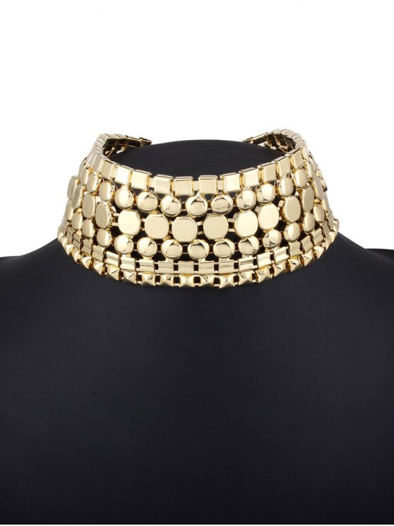 Alloy Polished Wide Necklace -   Mobile