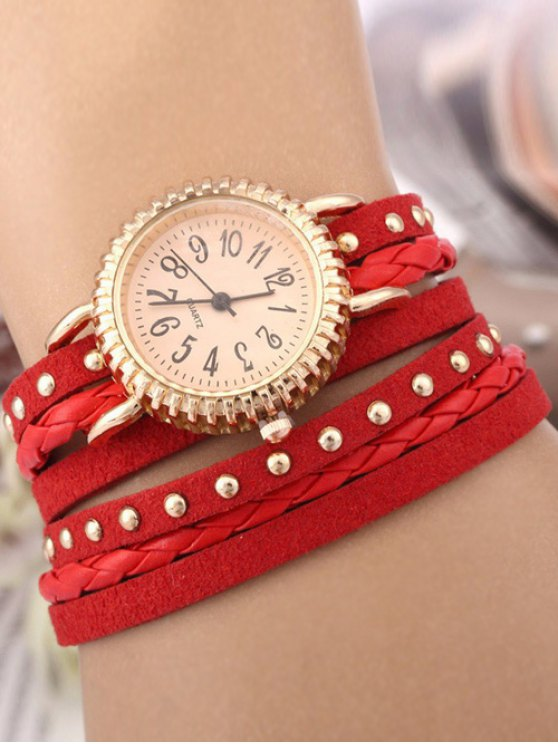 Rivet Studded Layered Bracelet Watch - RED  Mobile