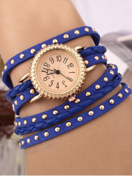 Rivet Studded Layered Bracelet Watch - BLUE  Mobile