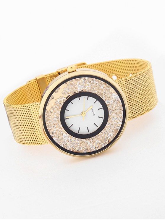 Metal Mesh Rhinestone Quartz Watch - GOLDEN  Mobile