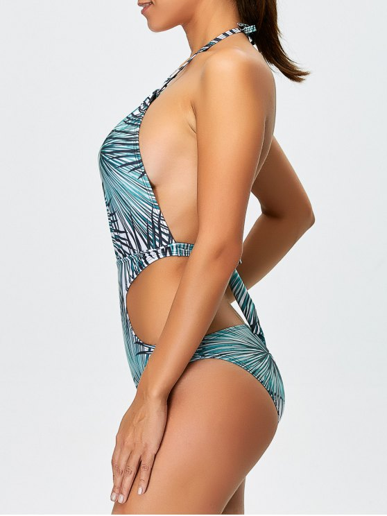 Tropical Print One-Piece Swimwear - BLUE L Mobile