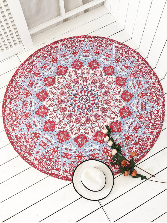 plage jet serviette tapis rond avec franges motifs style mandala indien rouge accessoires de. Black Bedroom Furniture Sets. Home Design Ideas