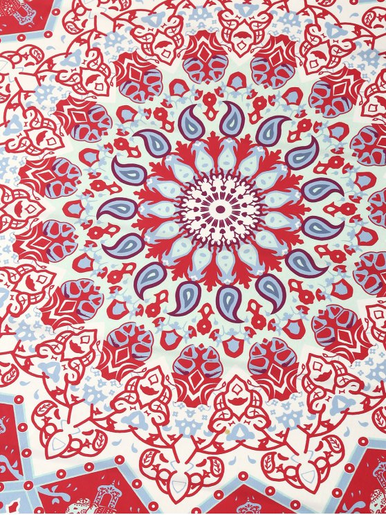 Indian Printed Mandala Beach Throw - RED ONE SIZE Mobile