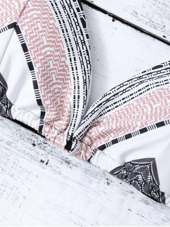 Geometric Tie Side Halter Bikini Set - MULTICOLOR S Mobile