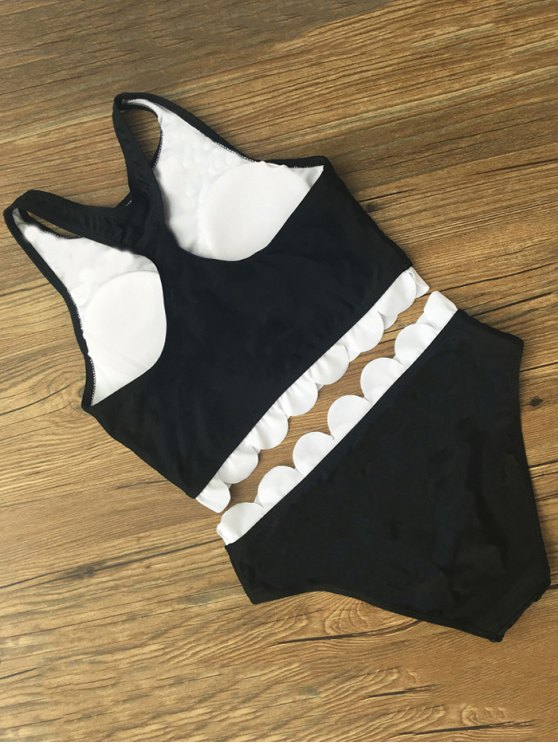 Printed Scalloped Cropped Bikini Set - BLACK XL Mobile