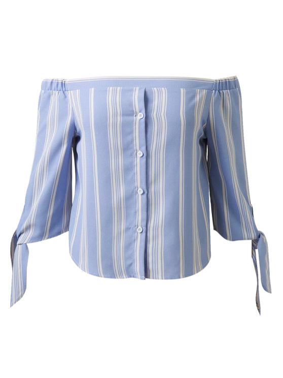 Off Shoulder Tied Striped Blouse - LIGHT BLUE L Mobile