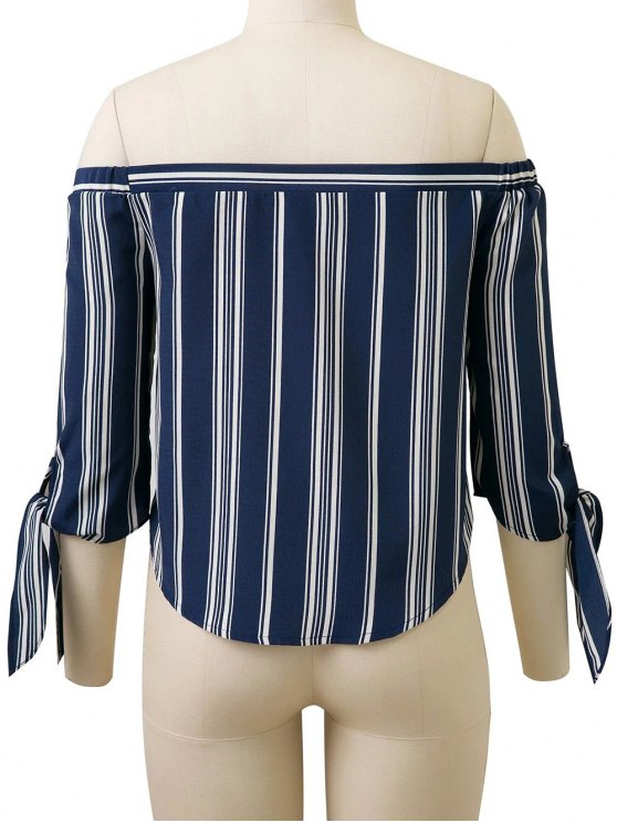 Off Shoulder Tied Striped Blouse - DEEP BLUE M Mobile