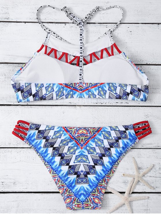 Hollow Out T Back Printed Bikini Set - MULTICOLOR M Mobile