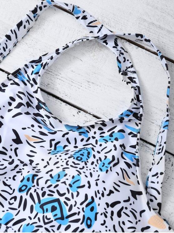Bandage Leopard Print Bikini Set - WHITE M Mobile
