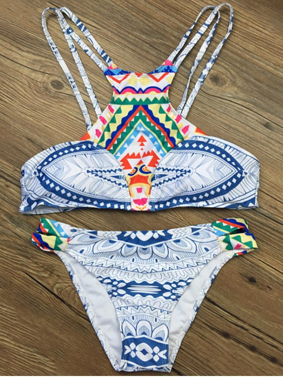 Strappy Ethnic Printed Bikini Set - WHITE S Mobile