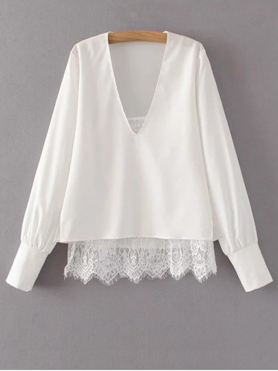 V Neck Lace Camisole Panel Blouse - WHITE M Mobile