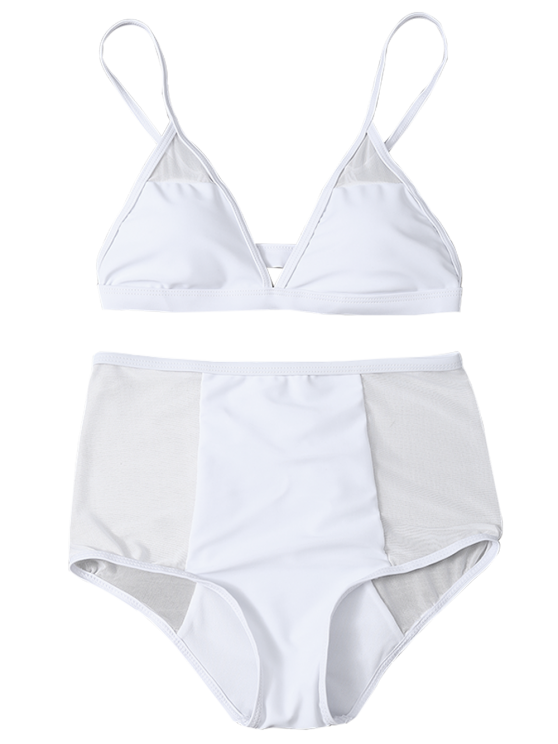 Low Cut High Waist Sheer Bikini Swimsuit - WHITE L Mobile
