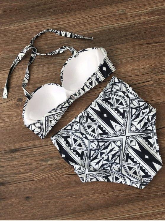 Push Up Geometric High Waisted Bikini Set - BLACK M Mobile