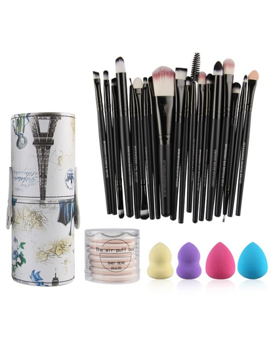 Makeup Brushes Kit + Makeup Sponges + Air Puffs - BLACK  Mobile