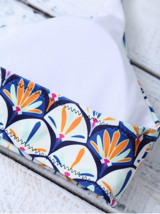 Criss Cross Cami Fish Scales Bikini Set - BLUE M Mobile