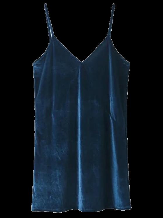 Espagueti vestido de terciopelo de la correa - Lago Azul XS