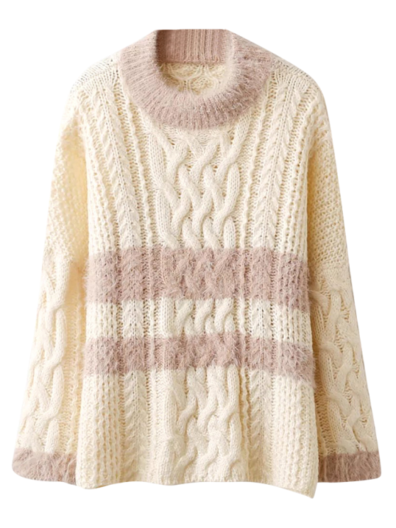 Color Block Cable Knit Sweater - OFF-WHITE ONE SIZE Mobile