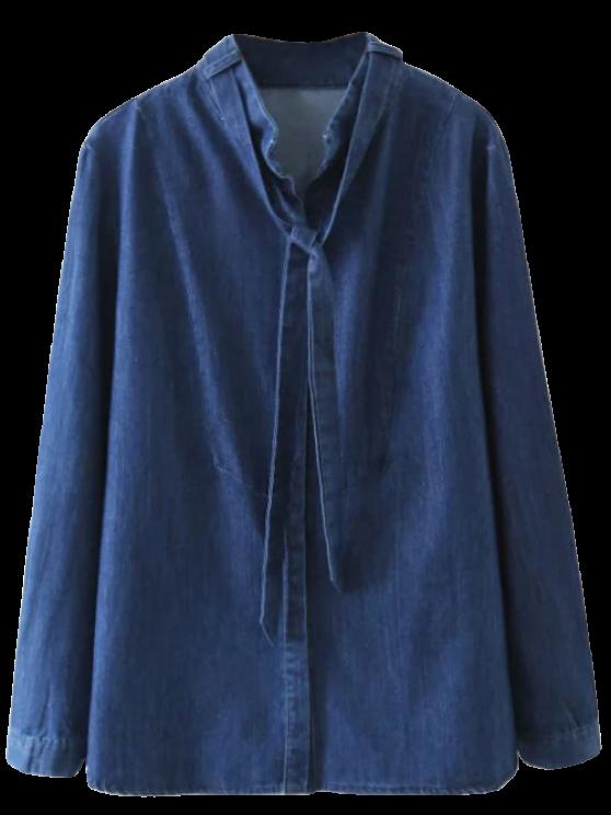 Tie Neck Denim Blouse - DENIM BLUE S Mobile