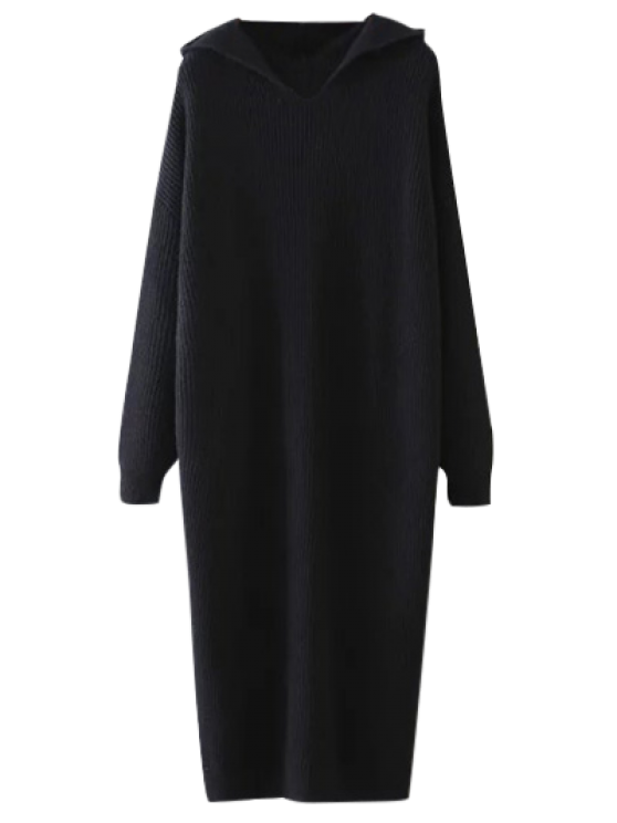 Hooded Midi Jumper Dress - BLACK ONE SIZE Mobile