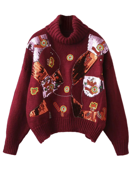 Roll Neck Sequins Sweater - BURGUNDY ONE SIZE Mobile
