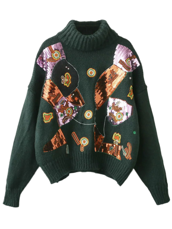 Roll Neck Sequins Sweater - BLACKISH GREEN ONE SIZE Mobile
