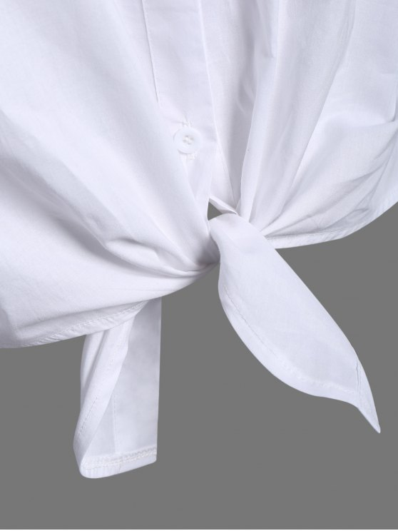Pocket Tie Knot Shirt - WHITE M Mobile