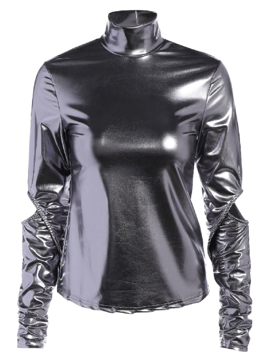 High Collar Metallic Color Top - SILVER 2XL Mobile