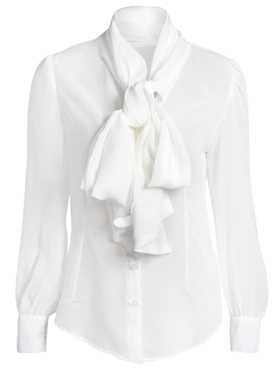 Bow Tie See-Through Blouse - WHITE L Mobile