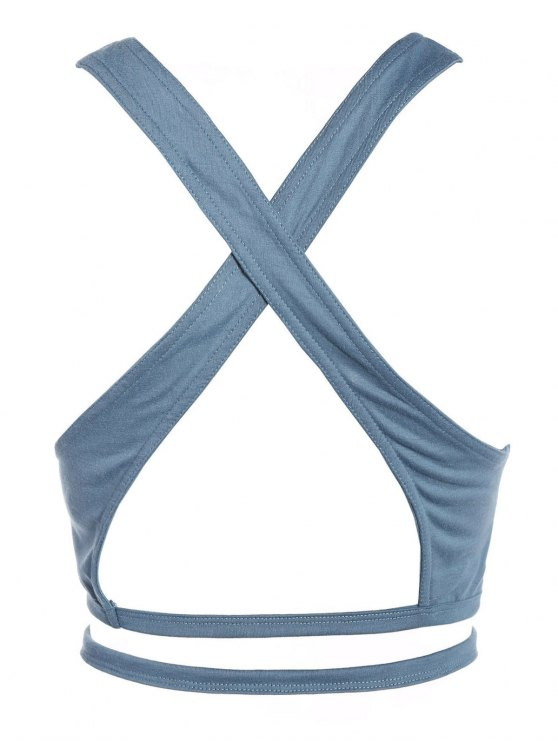 Criss Cross Gym Crop Top - BLUE GRAY S Mobile