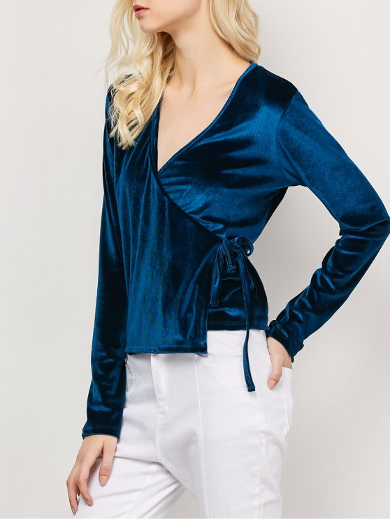 Long Sleeve Velvet Wrap Top - CADETBLUE S Mobile