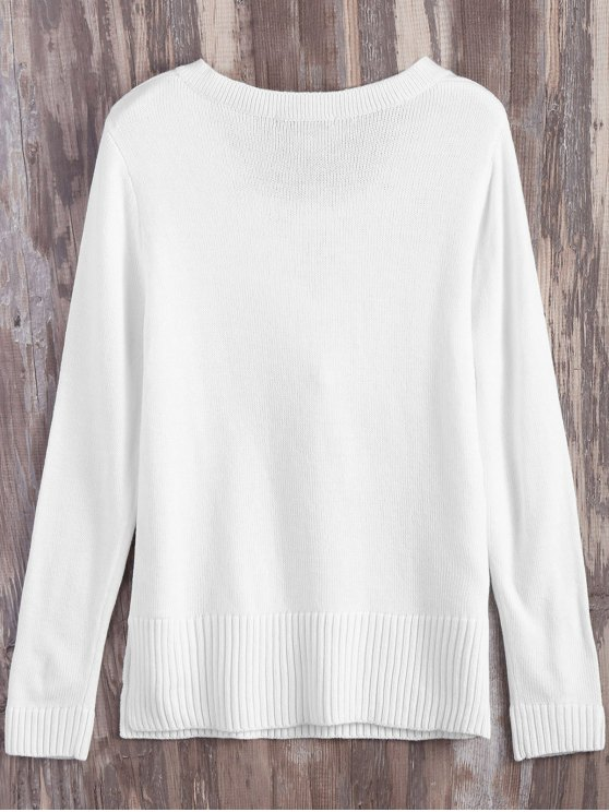 Lace Up V Neck Side Slit Sweater - WHITE M Mobile