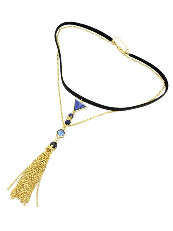 Triangle Tassel Layered Necklace - GOLDEN  Mobile