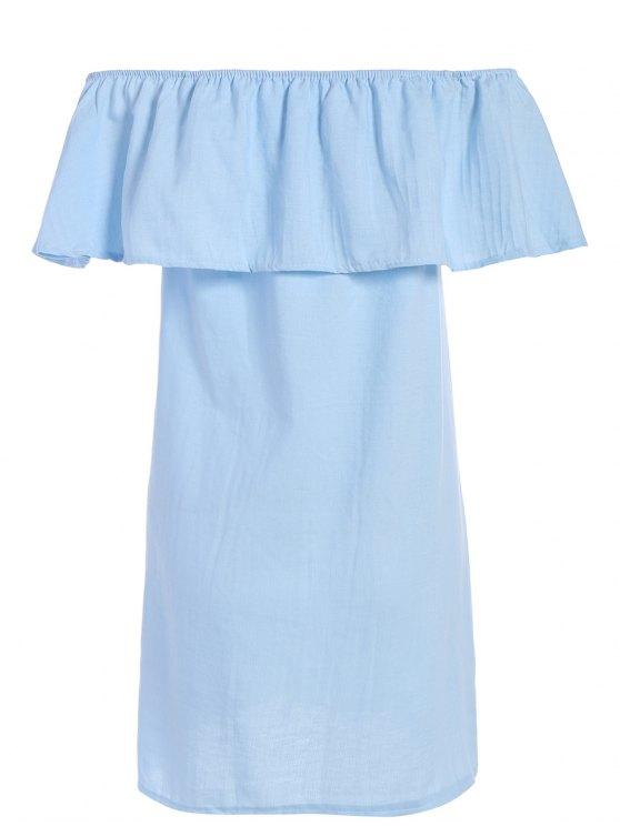Ruffled Off The Shoulder Mini Dress - LIGHT BLUE L Mobile