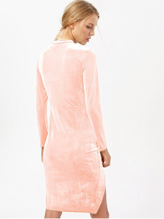 Side Slit Long Sleeve Velour Dress - LIGHT PINK S Mobile