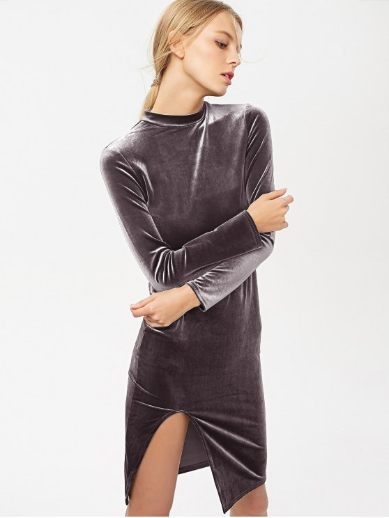 Side Slit Long Sleeve Velour Dress - BLACK PURPLE M Mobile