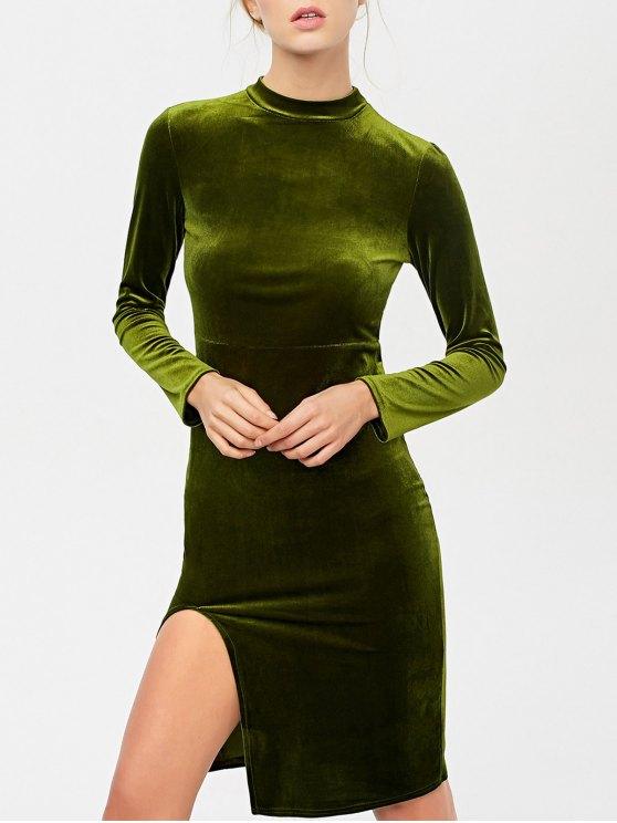 La raja del lado del vestido largo de terciopelo de manga - Verde Oliva M