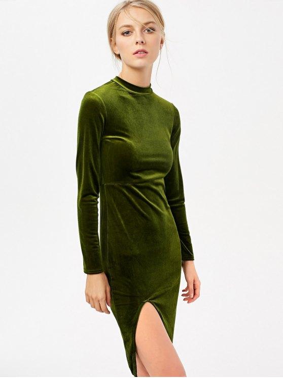 Side Slit Long Sleeve Velour Dress - OLIVE GREEN M Mobile