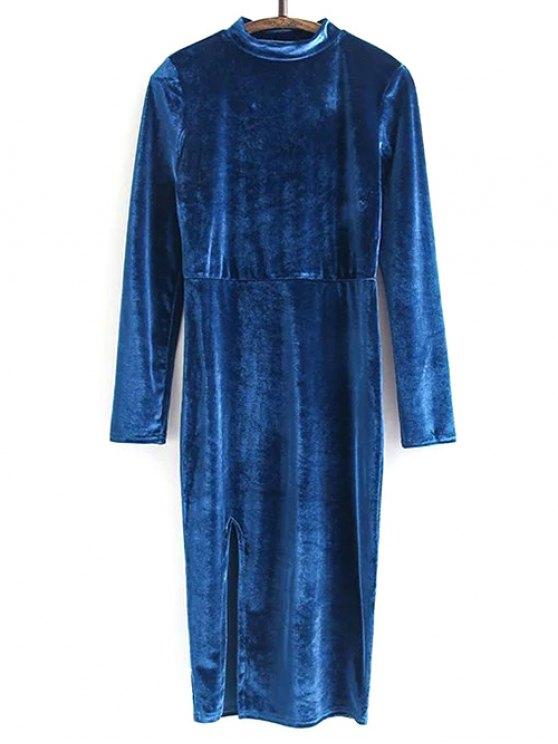 Side Slit Long Sleeve Velour Dress - PEACOCK BLUE S Mobile