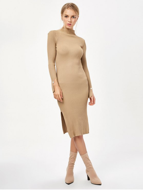 Side Slit Bodycon Sweater Dress - KHAKI ONE SIZE Mobile