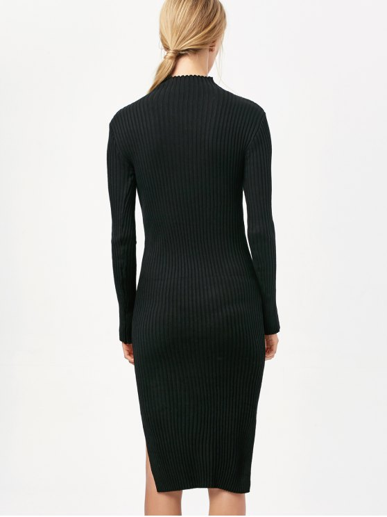 Side Slit Bodycon Sweater Dress - BLACK ONE SIZE Mobile