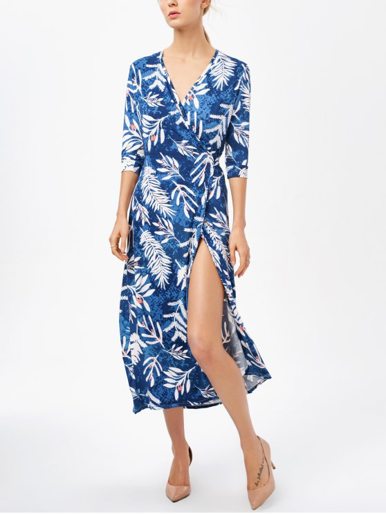 Printed Side Slit Surplice Maxi Dress - BLUE XL Mobile