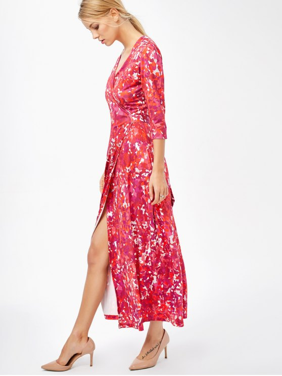 Printed High Slit Wrap Maxi Dress - RED L Mobile